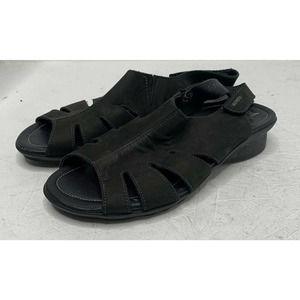 MEPHISTO Black Leather Peep Toe Sandals Size 8
